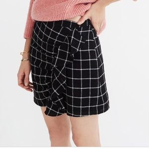 Madewell Windowpane Ruffle Front Skirt
